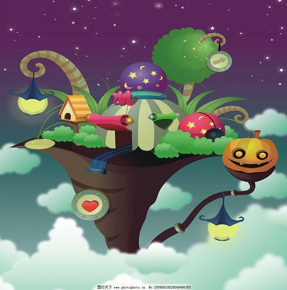 树城 玻璃移门图案 心 树上房屋 星星 动漫动画 风景漫画 设计图库 72