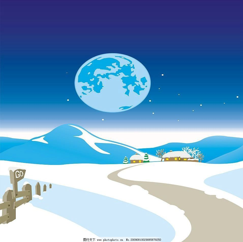 冬晨雪景 玻璃移门图案 海滩 房屋 围栏 月亮 动漫动画 风景漫画 设计