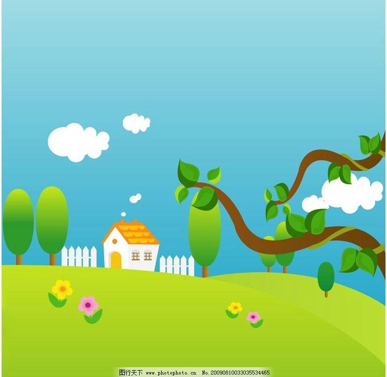 春天风景素材 背景 卡通 插画 草地 树枝 树叶 小木屋 木栅栏