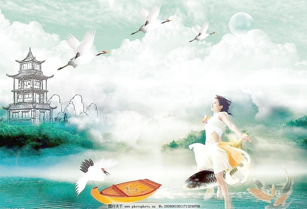 木船 水浪 水纹 阳光 太阳 鸟 鸟类 鸳鸯戏水 云 美女 山水风景画