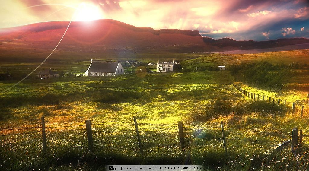 摄影图库 自然景观 自然风景  郊外美景 美丽风景 房屋 房子 蓝天