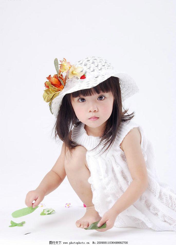 女童 女孩 小美女 小公主 可爱 比林妙可漂亮 微笑 花帽 儿童