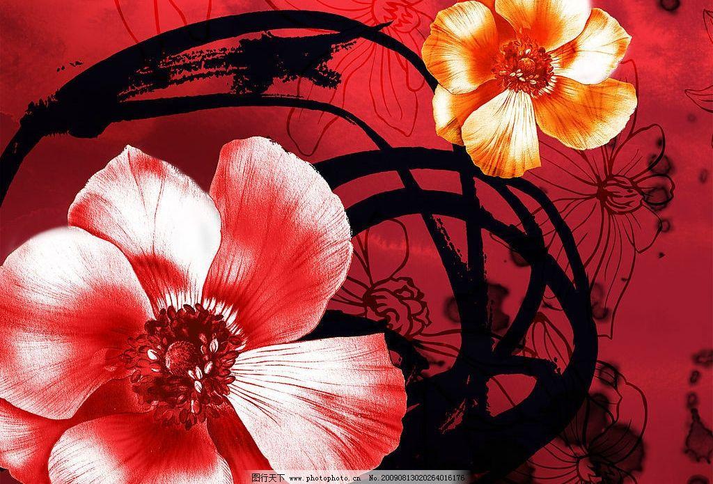 红色 水粉 手绘 背景 纹理图片