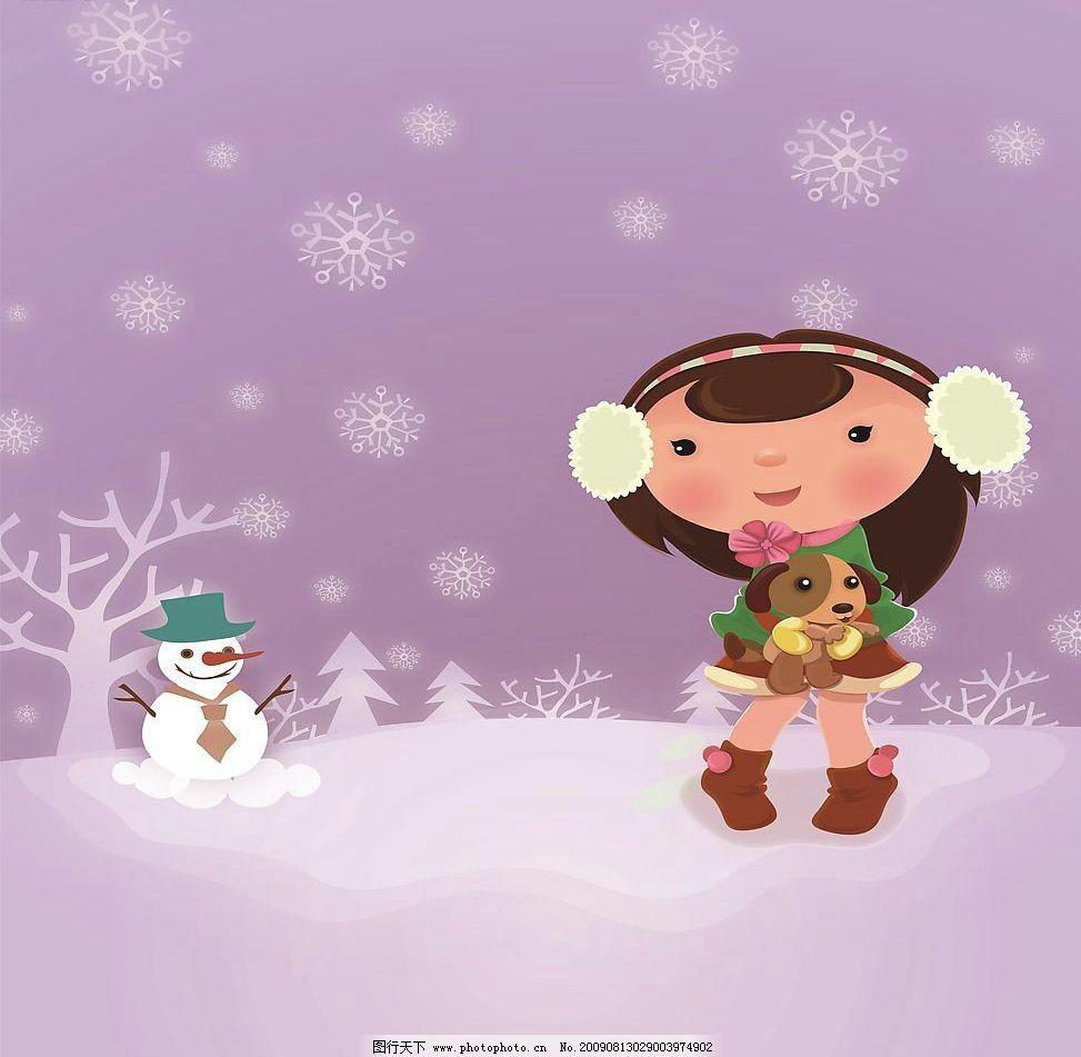 雪中女孩 玻璃移门图案 小女孩 卡通 雪花 动漫动画 风景漫画