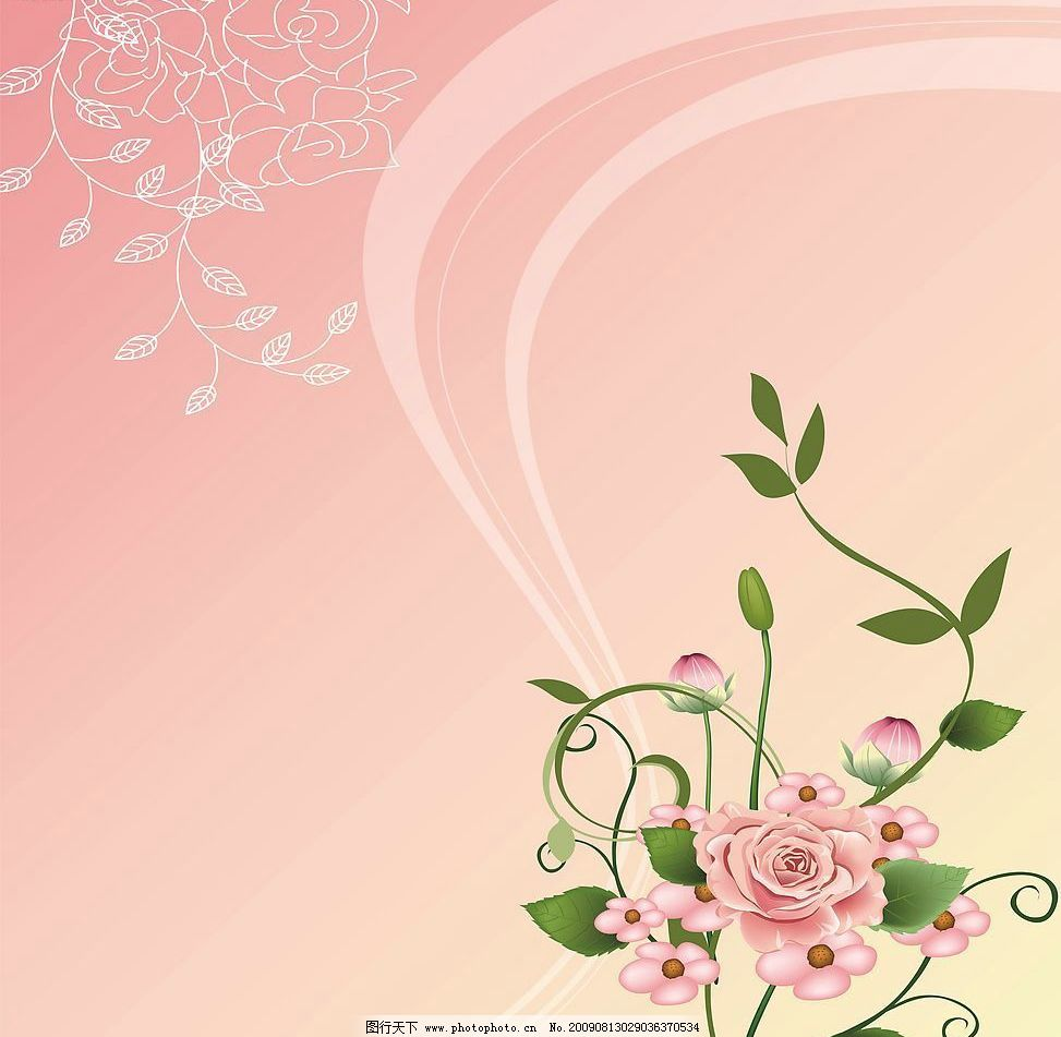 花香 玻璃移门图案 玫瑰花 花朵 线条 底纹边框 花边花纹 设计图库 72