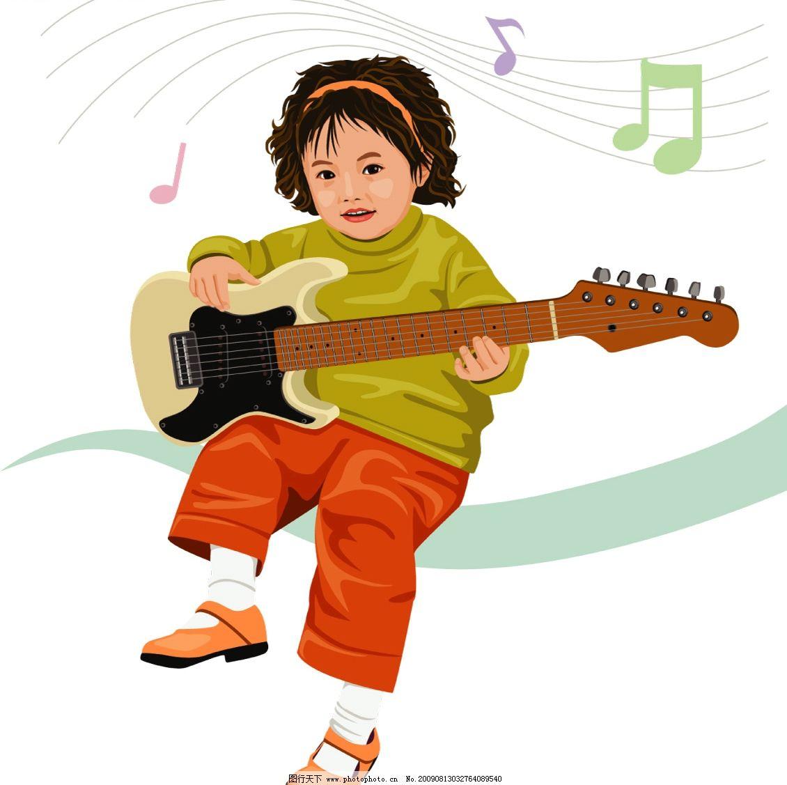 弹吉他的小女孩 音乐符号 可爱的小女孩 psd分层素材 人物 源文件库