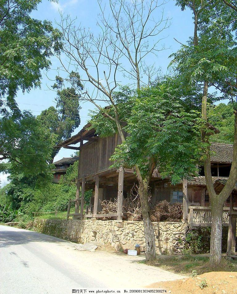 湘西靖州民居 怀化 农村 田园美景 木房子 树木 马路 摄影图库