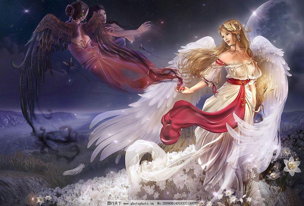 天使 漫画 手绘 翅膀 星光 花朵 黑羽 白羽 200dpi 动漫动画 动漫人物