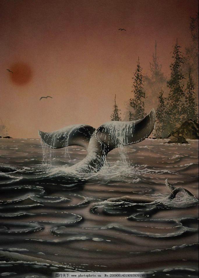 创意背景 大海 鲸鱼 鱼尾 树木 海鸥 红日 大树 文化艺术 绘画书法 创