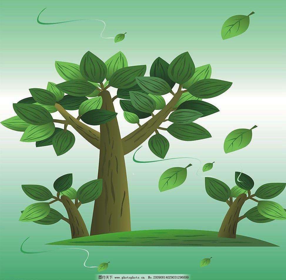 茁壮成长 玻璃移门图案 树木 树叶 动漫动画 风景漫画 设计图库 72dpi