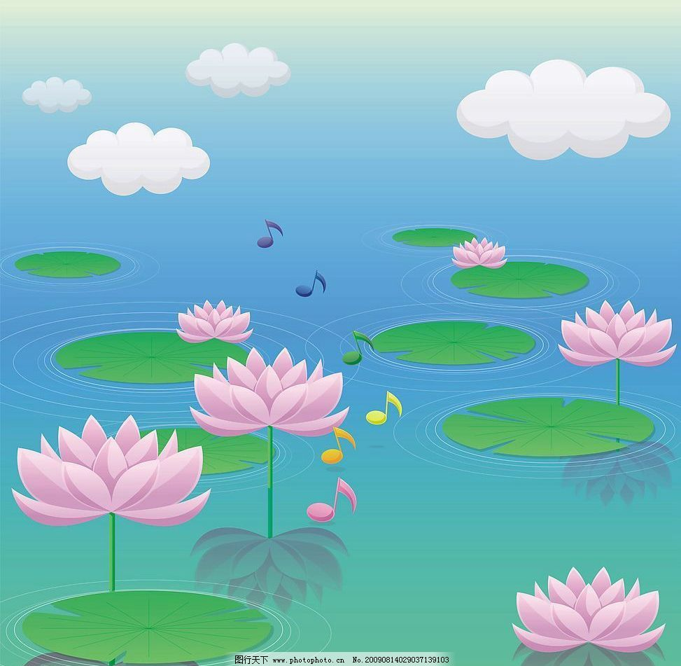 爱莲二 玻璃移门图案 荷花 荷叶 池塘 动漫动画 风景漫画 设计图库 72