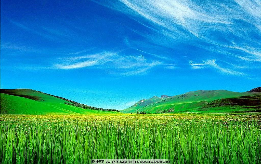 梦幻蓝天白云绿地背景图片图片