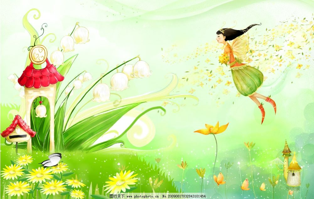 儿童乐园 女孩 卡通房屋 小房子 花 蝴蝶 花瓣 草地 底纹 卡通画