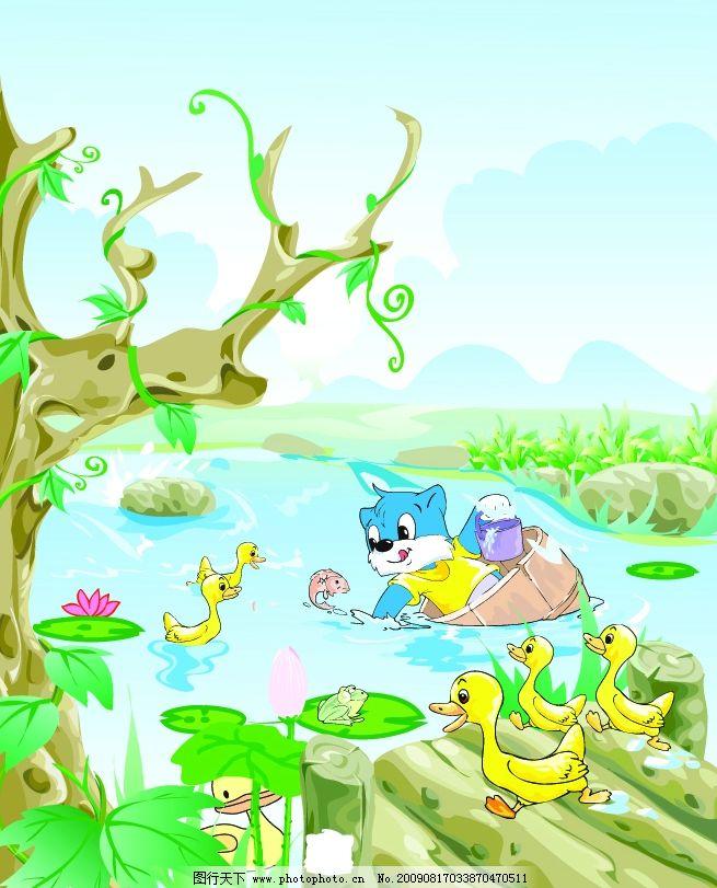 蓝猫 荷叶 鸭子 青蛙 鱼 石头 树叶 河水 矢量 其他矢量 矢量素材