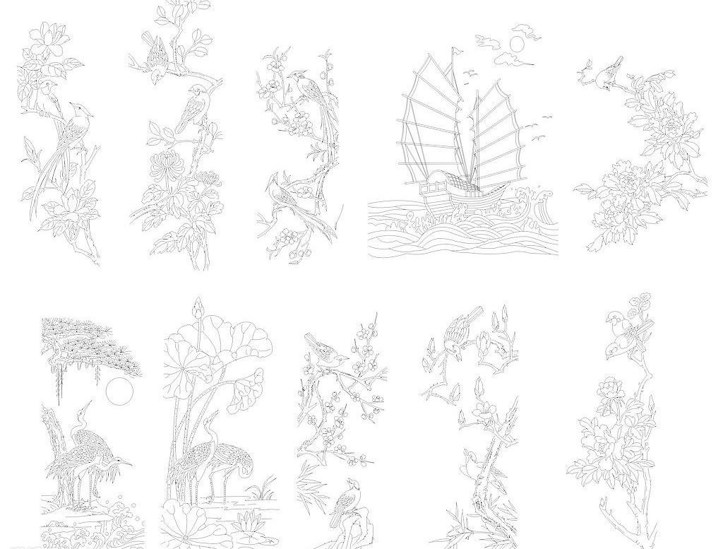 帆船 国画 荷花 菊花 刻绘 梅花 牡丹 鸟 松鹤 松树 白描图谱矢量素材