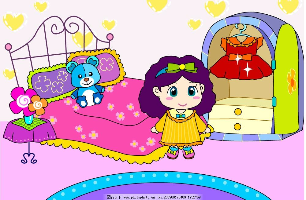 小女孩卧室 美丽 漂亮 可爱 衣服 裙子 玩具熊 小床 衣柜 矢量人物