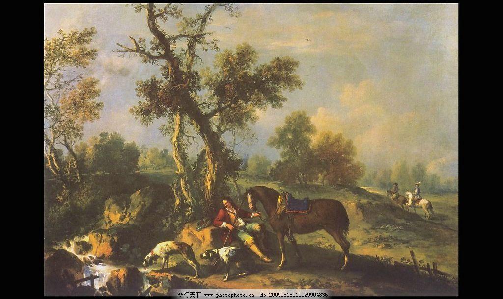 风景油画图片,蓝天 树人 草地 河流 山 石头 动物-图