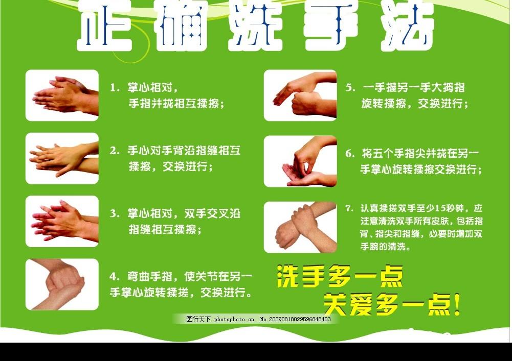 正确洗手法 七步洗手法 绿底 底纹 广告设计 矢量图库 cdr