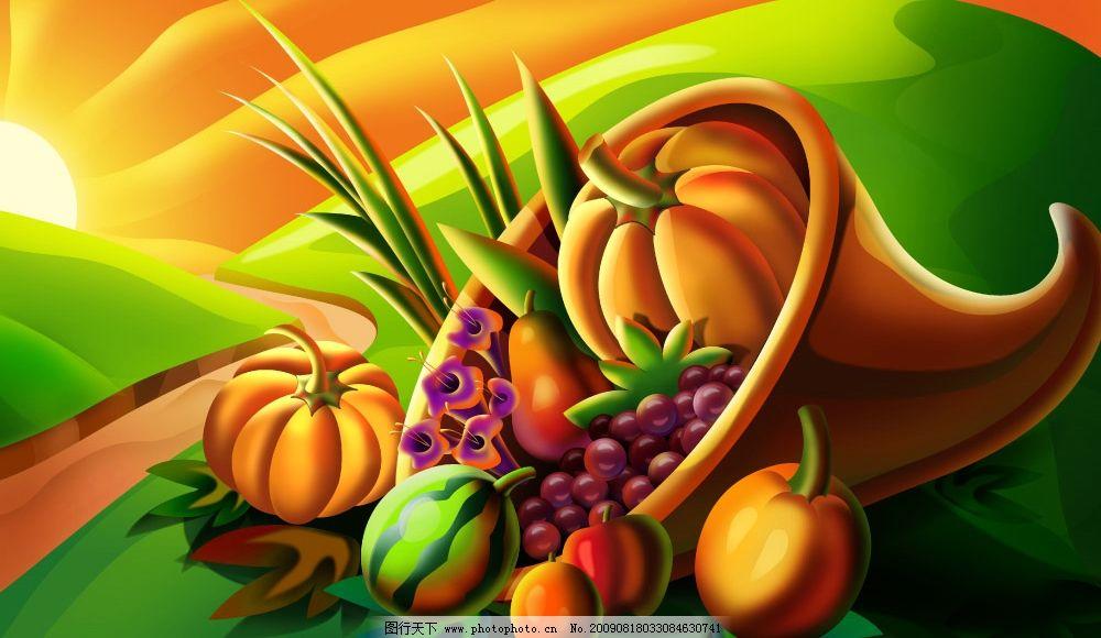 psd 树叶 桃子 水蜜桃 葡萄 梨子 西瓜 南瓜 蔬菜 食物 餐饮素描 彩绘