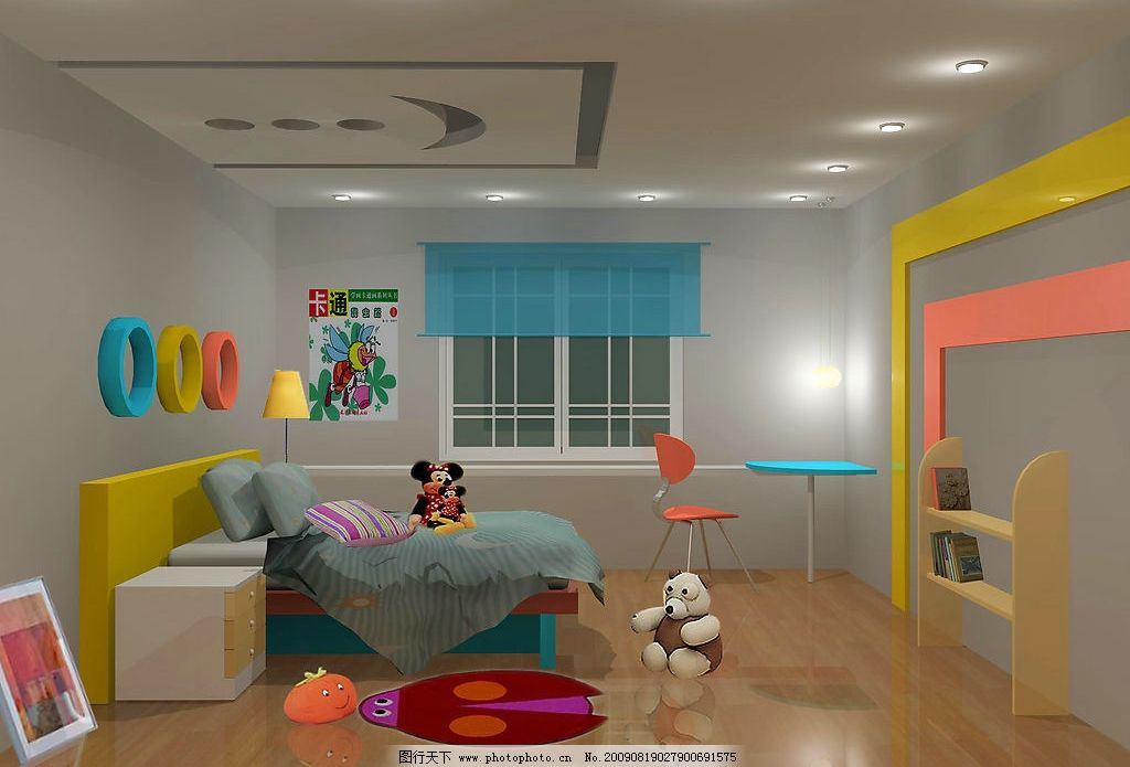 儿童房效果a 天花 墙壁 家具