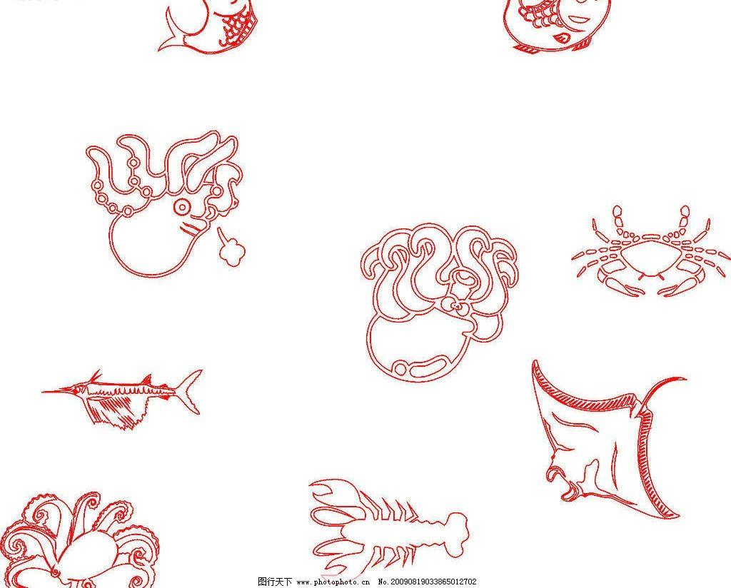 海鲜 章鱼 龙虾 其他矢量 矢量素材 矢量图库 cdr