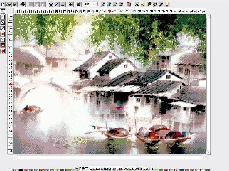 十字绣风景图纸江南水乡图片