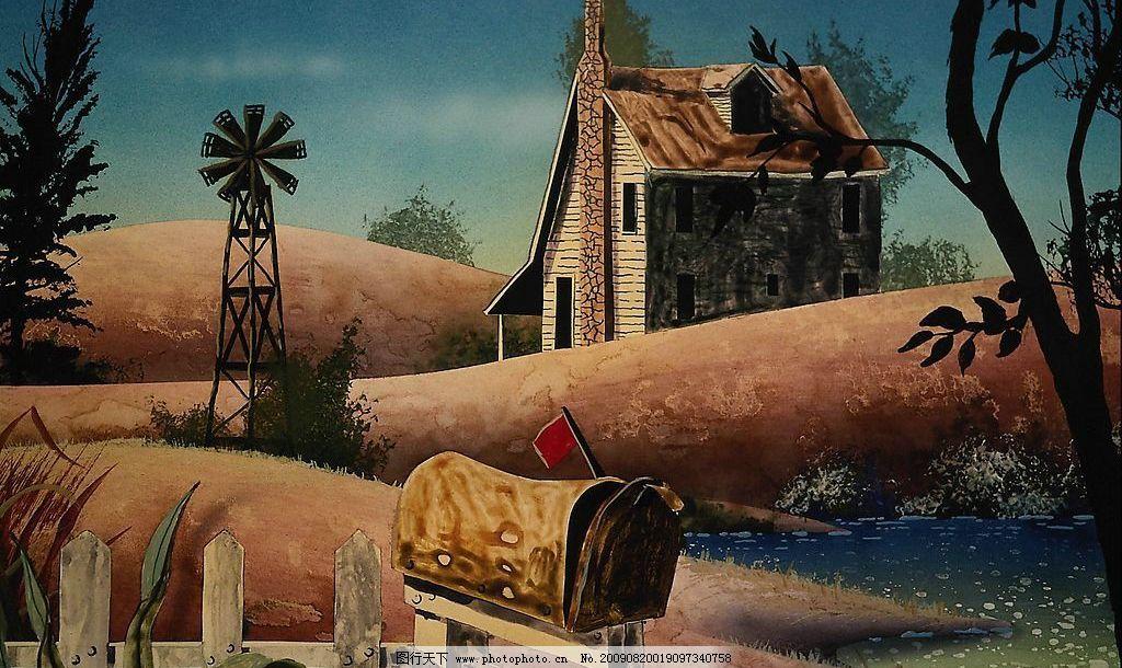 小河 河流 湖泊 土丘 创意 背景 素材 漫画 油画 抽象 风景 环境 创意