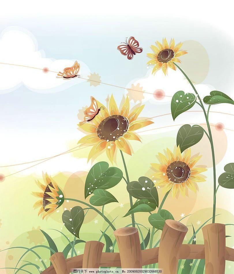 花香 玻璃移门图案 向日葵 围栏 底纹边框 花边花纹 其他设计