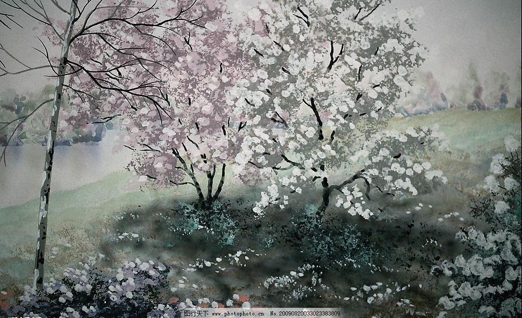 创意背景 草地 抽象 风景 花朵 花树 创意背景设计素材 创意背景模板
