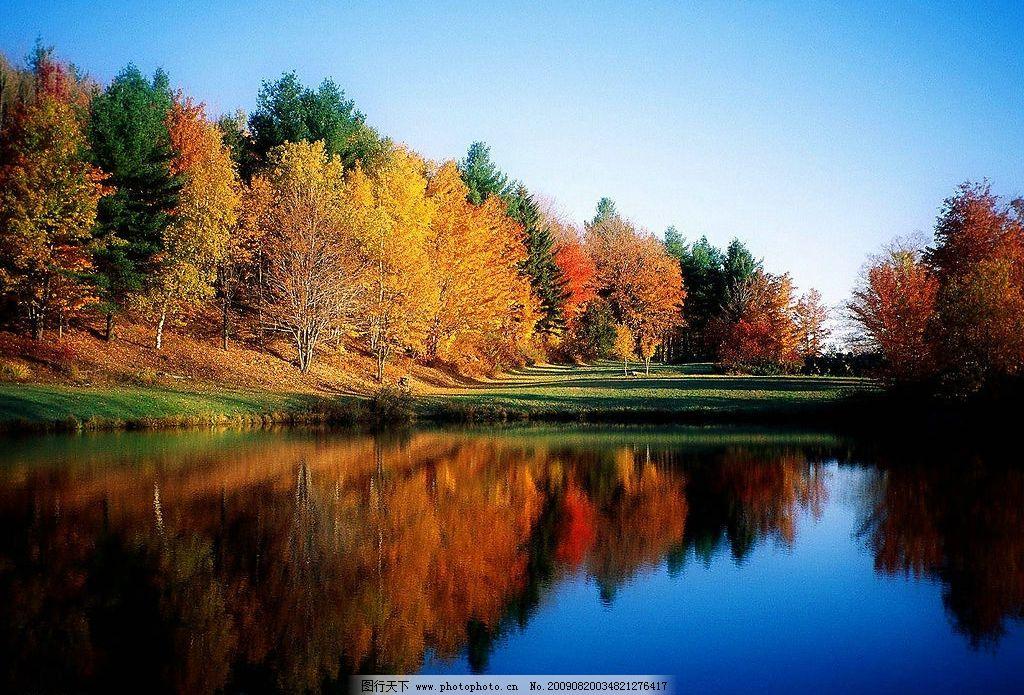 美丽风景 蓝天 白云 云层 天空 树木 景色 湖泊 池塘 倒影