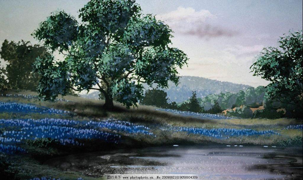 创意背景 大树 花草 草地 树木 天空 森林 河流 水 创意 背景 素材