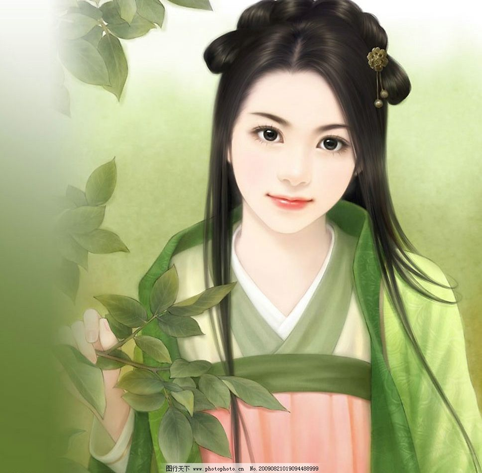 精品手绘美女图 手绘古装美女 纯洁 古典美女 女神     文化艺术 绘画