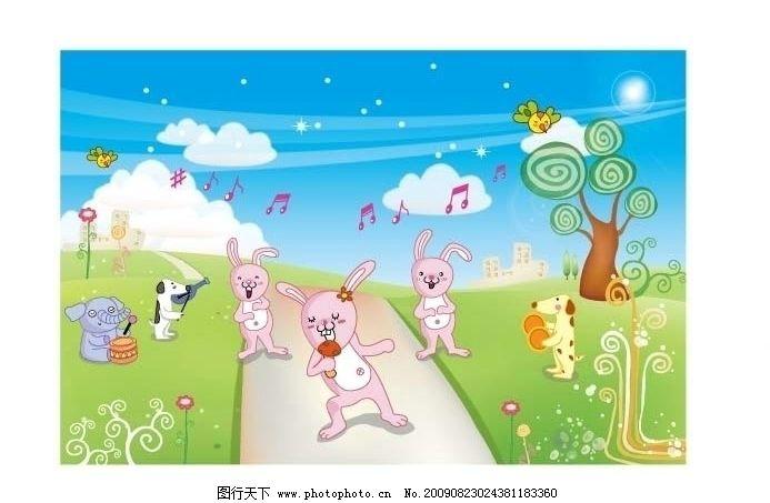 卡通风景背景图 天空 白云 草地 绿树 小鸟飞翔 大象 狗狗 白兔唱歌