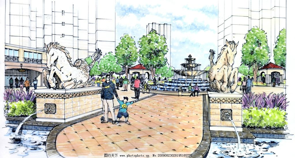 手绘景观 水彩画 园林 喷泉 社区景观 景观设计 环境设计 200dpi jpg