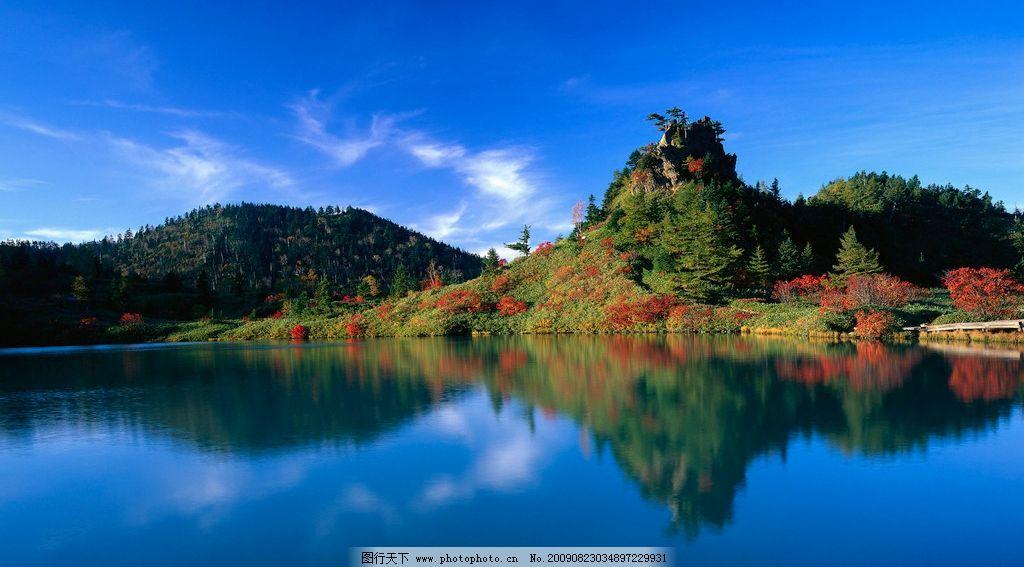 蓝天青山幽水 远山 山峰 湖水 倒影 自然风景 自然景观 摄影 96dpi