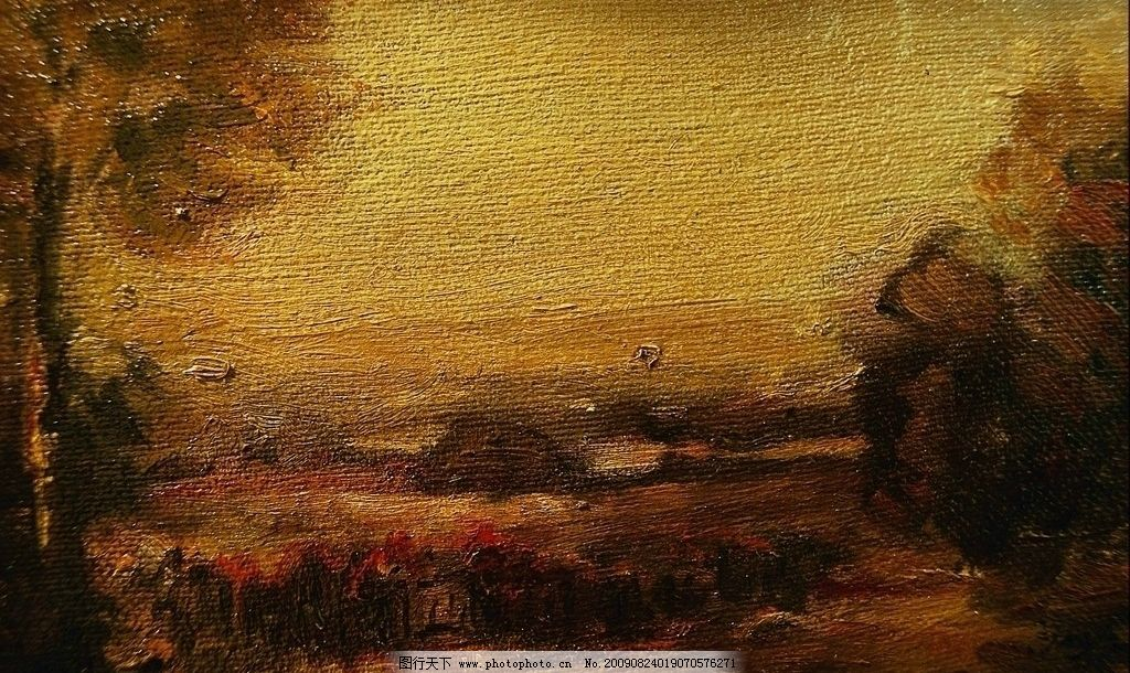 花 树木 布纹 麻布 素材 漫画 油画 抽象 风景 环境 创意设计背景图