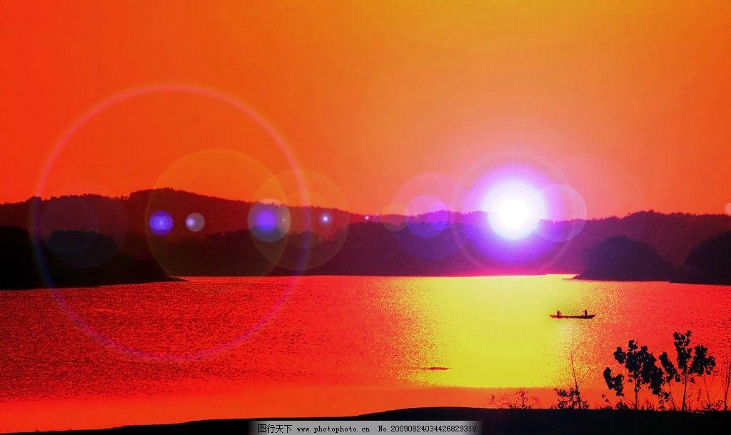 渔舟唱晚 傍晚 夕阳 山水 小舟 山水风景 自然景观 摄影