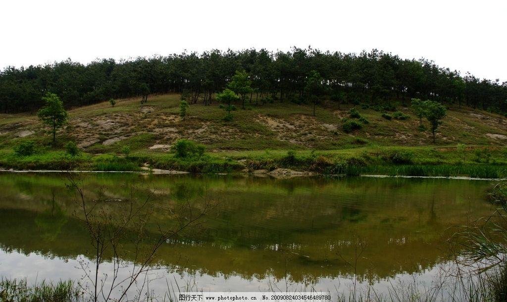 水塘 山坡 山林 水草 乡村风景 田园风光 自然景观 摄影 72dpi jpg
