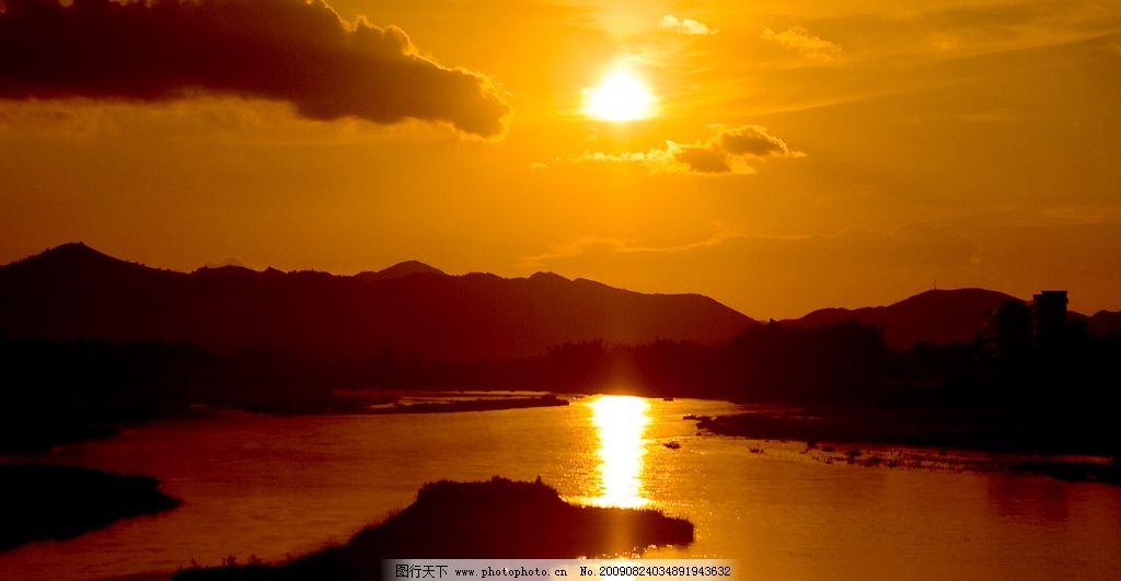 落日 晚霞 远山 黄昏 渔歌 小桥 流水 人家 家乡风光 自然风景 自然