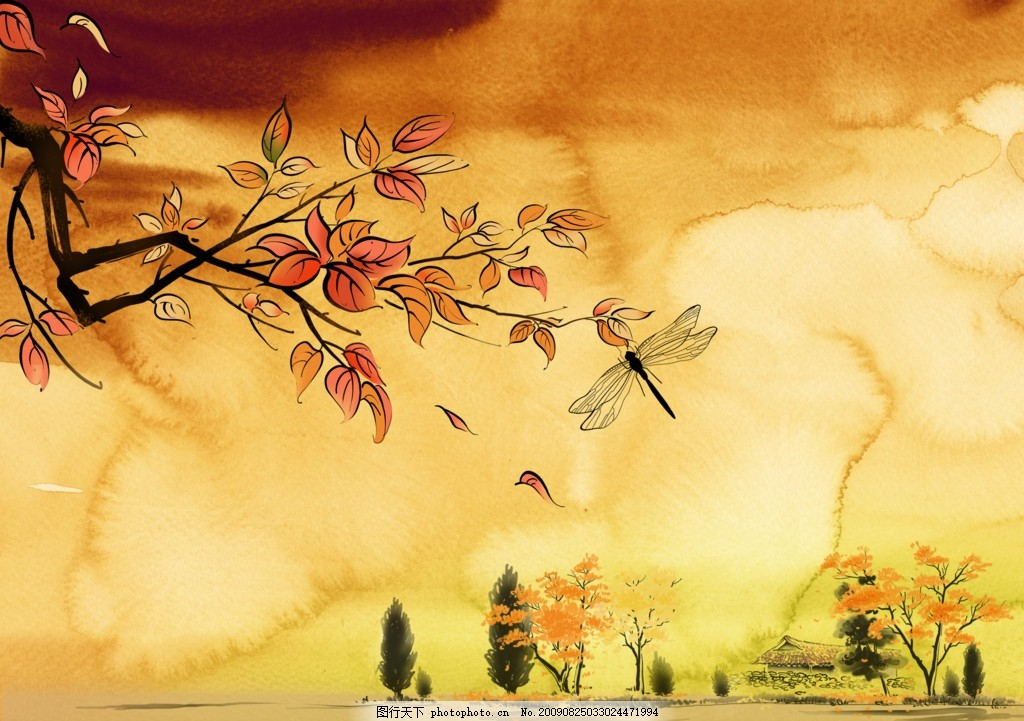 韩国浪漫水彩漫画 树叶 枫叶 蜻蜓 云朵 水墨意境 浪漫气氛 小茅屋