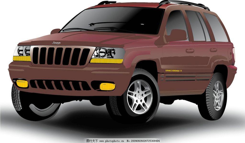 汽车 吉普车 红色 侧面 亮丽 新车 矢量