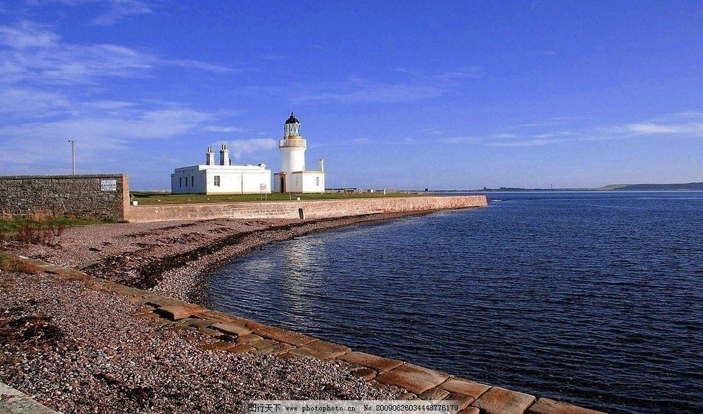 海边建筑 蓝天 白云 黎明 旅游 摄影图 山水风景 自然景观 摄影 96dpi