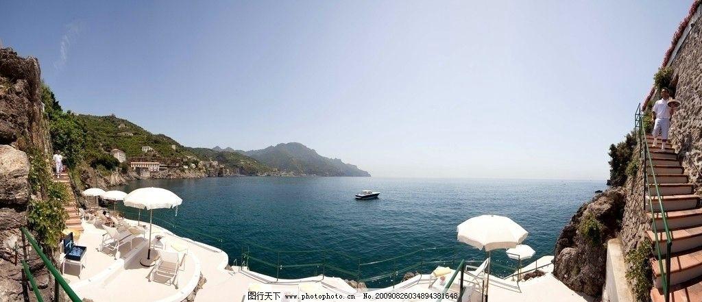 山崖 度假 海 遮阳伞 壮丽自然 自然风景 自然景观 摄影 240dpi jpg