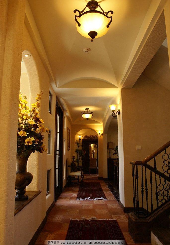 别墅走廊 装修 欧式 灯具
