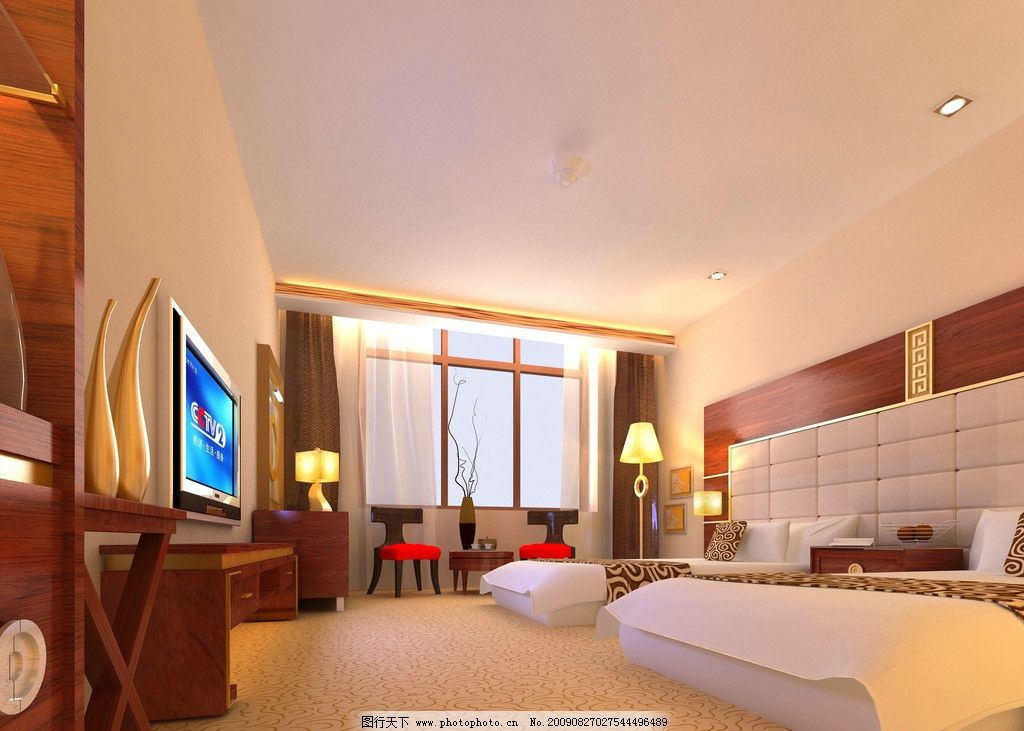 宾馆标准间效果图 房间 现代中式 设计图 酒店宾馆类