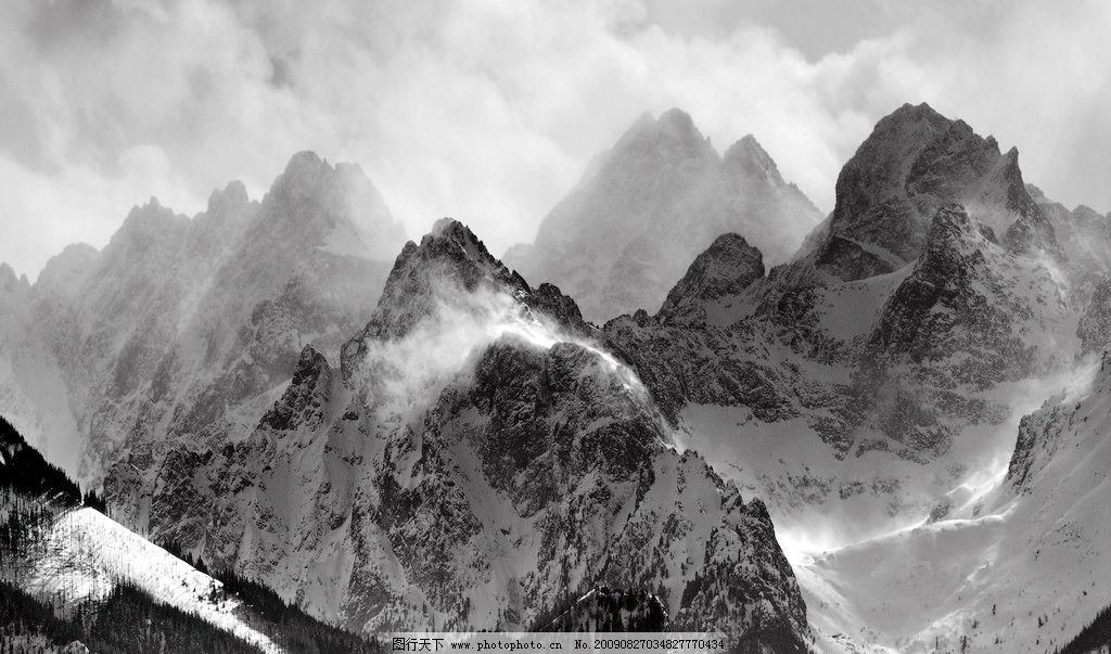 黑白连绵山脉 自然风景 黑白画 云 自然景观 摄影 72dpi jpg