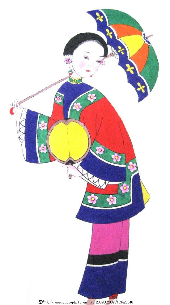年画 吉祥 传统 古代美女 侍女 女性妇女 人物图库 设计 180dpi jpg