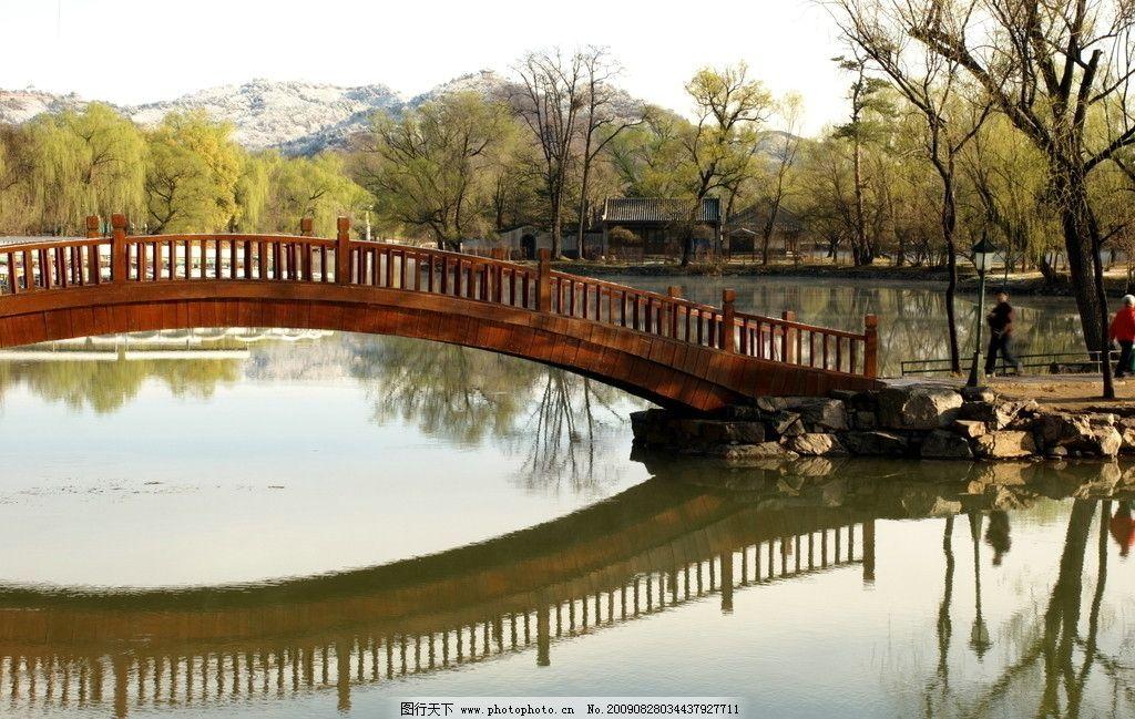 拱桥 园林风光 木桥 水中倒影 春色 山水风景 自然景观 摄影