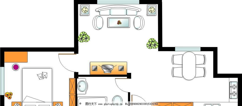 室内平面图 厨房 客厅 卫生间 房间 平面设计 矢量素材 其他矢量