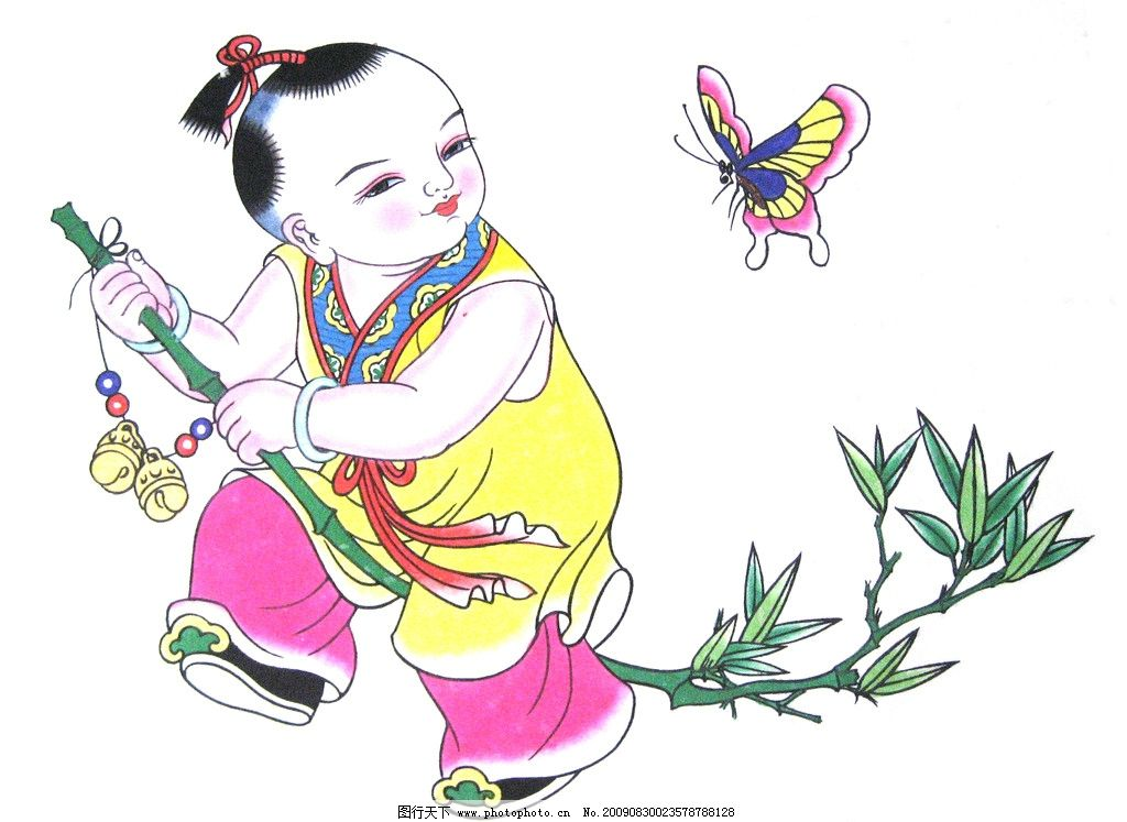年画 吉祥 古代 儿童 活泼 可爱